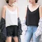 吊帶背心女寬鬆短款內搭外穿韓版港味t恤打底雪紡衫無袖上衣   卡菲婭