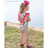 RuffleButts 無袖泳衣 露背連身式泳裝綠花朵 兒童【RUSWSWHGRE】