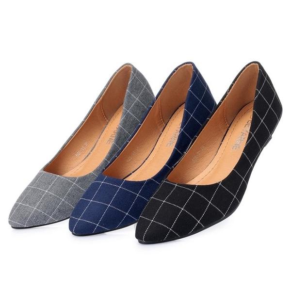 高跟鞋 低跟鞋 2020春季新款 低跟單鞋 尖頭 淺口 布面 跟高3厘米低跟鞋