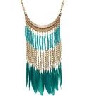 歐美複古 波西米亞風個性羽毛流蘇米珠項鏈流蘇鎖骨鏈服裝配飾