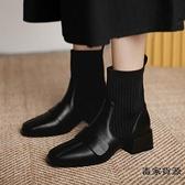 瘦瘦靴彈力靴女短靴粗跟小方頭襪靴馬丁靴女秋冬潮【毒家貨源】