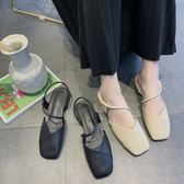 復古方頭一字帶涼鞋女平底韓版百搭女鞋子瑪麗珍粗跟單鞋 名購居家