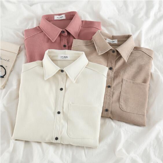 设计感磨毛衬衫女早春新款宽松百搭纯色外穿上衣复古慵懒叠穿衬衣