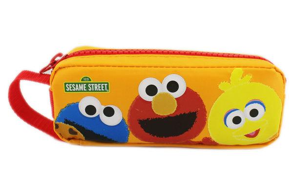 【卡漫城】 芝麻街 鉛筆盒 黃色 ㊣版 Elmo 餅乾怪獸 Sesame Street 收納包 方形 筆袋 大拉鍊
