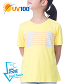 UV100 防曬 抗UV-涼感條紋休閒上衣-童