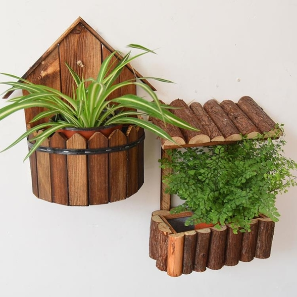 實木壁掛花盆裝飾花桶掛壁木質花盆花籃花器垂吊吊蘭掛籃花盆桶