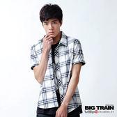 BIG TRAIN 基本款藍白格紋短袖襯衫-男-藍白格