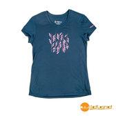 wildland荒野 女 RE印花棉感功能上衣『深藍』0A51691 台灣製造 排汗透氣圓領T恤 T-shirt 運動服