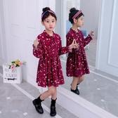 女童洋裝 純棉長袖連身裙洋氣中大童打底裙子