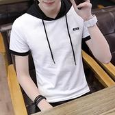 連帽T恤 2021男士短袖t恤連帽小衫衛衣丅半袖個性韓版潮流夏季男裝上衣服 小衣裡