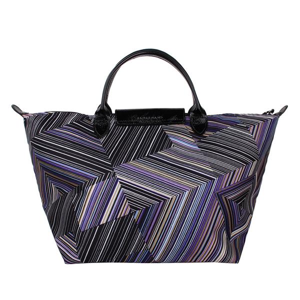 Longchamp幾何風格錯視條紋短提把中型水餃包(紫晶色)480536-958