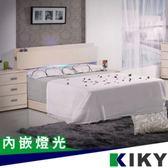 佐佐木內嵌燈光雙人5尺床頭片(白橡色)