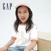 Gap女童 純棉漸層印花短袖T恤 700613-白色