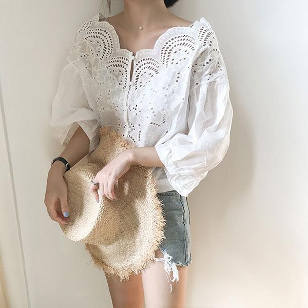 日系 緹花 蕾絲 上衣 襯衫 棉麻 簍空 雕花 洞洞 七分袖 短袖 顯瘦 百搭 氣質 純白 小清新 NXS