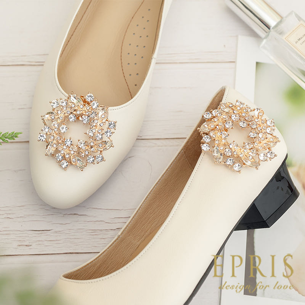 獨家款 圓形水鑽飾扣 勝利祝福 甜月桂 婚鞋推薦飾扣鞋夾