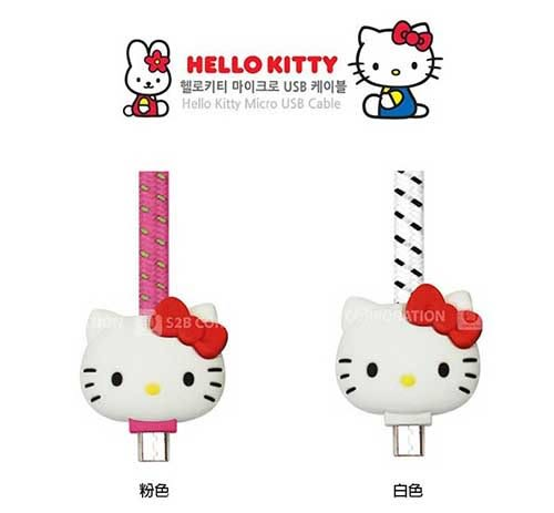 正版授權 Hello Kitty 凱蒂貓 Q版 Kitty 5 pin 傳輸線 充電傳輸線 (Android 安卓系統)【A161501】