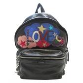 SAINT LAURENT YSL 聖羅蘭 黑色牛皮LOVE造型後背包 Patchwork Backpack 【BRAND OFF】