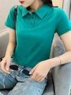 短袖POLO衫 日繫黑色polo衫 短袖2021年夏季新款純棉翻領t恤女綠色短款上衣女