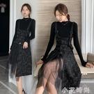 春秋新款韓版氣質顯瘦針織上衣粗毛呢背帶連衣裙女時尚兩件套裝裙 小艾新品