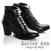 ★2016秋冬★Keeley Ann法式浪漫~反摺綁帶造型全真皮中跟短靴(黑色)