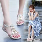平底涼鞋仙女風軟底涼鞋女夏季平底鞋2021年新款舒適防滑百搭水鉆波西米亞  雲朵 上新