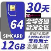 【TPHONE上網專家】歐洲全區64國 12GB超大流量高速上網卡 贈送歐洲3000分鐘通話 30天
