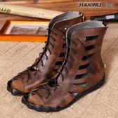 真皮鏤空平跟女涼鞋