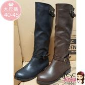 艾妮塔公主。中大尺碼女鞋。 (B182) 經典時尚皮帶釦飾造型長靴 共2色。 40 41 42 43 44 45 碼