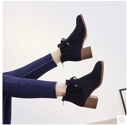 小鄧子靴子女切爾西短靴粗跟2017新款女鞋秋冬季加絨保暖棉鞋高跟馬丁靴