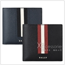 BALLY TEISEL 銀字LOGO紅白紅/黑白黑條紋牛皮4卡對折短夾(兩色)