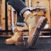 尾牙年貨節中幫靴子男士馬丁靴男英倫風冬季軍靴高幫男鞋秋季皮靴工裝雪地靴3色gogo購