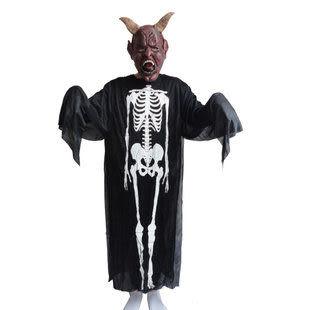 萬聖節服裝用品 鬼骨架鬼衣服+牛魔王牛角面具