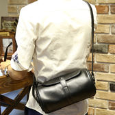 PU皮圓筒斜背包 男側背小包【非凡上品】x452