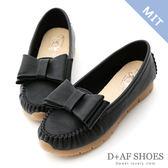 豆豆鞋 D+AF 甜美俏皮.MIT大蝴蝶結莫卡辛健走鞋*黑
