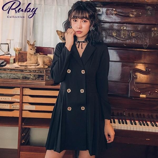 洋裝 翻領排扣百褶長袖洋裝-Ruby s 露比午茶