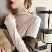 高領打底衫半高領加絨打底衫女秋冬新款春秋長袖t恤木耳邊內搭上衣百搭T恤 阿卡娜