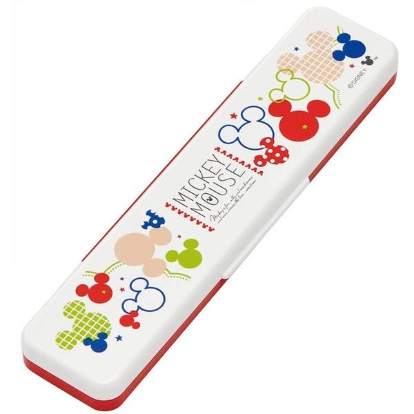 SKATER 日本製兩件式環保餐具 筷子湯匙組 附攜帶盒 迪士尼 米奇 彩色大頭 紅白_AT44346