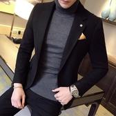 秋冬季加厚毛呢小西裝男修身韓版潮青年時尚休閒西服男裝外套單西叢林之家