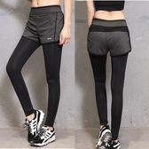 假兩件健身褲 女 跑步運動長褲瑜珈褲九分修身顯瘦透氣速干緊身褲 韓慕精品