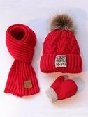 嬰兒帽 三件套秋冬兒童加絨毛線帽男女童圍巾手套嬰兒加厚保暖套頭針織帽 歐歐