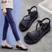 涼鞋 水鉆涼鞋女夏季韓版時尚百搭仙女的鞋厚底學生軟妹女鞋子-71504