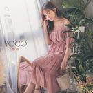 東京著衣【YOCO】魅力露肩蕾絲花邊蛋糕長洋裝-S.M.L(181209)