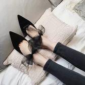 尖頭高跟鞋女新款正韓細跟綁帶蝴蝶結穆勒鞋半拖鞋涼鞋女