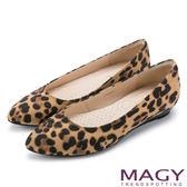 MAGY 清新氣質款 親膚舒適尖頭平底鞋-豹紋咖