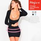 魔法e裳《輕盈長袖3D美胸長版塑身衣》3D超彈力*爆乳瘦腰瘦小腹瘦手臂-D016