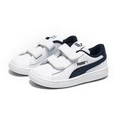 PUMA 休閒鞋 SMASH V 白深藍 黏帶 運動鞋 小童(布魯克林) 36517404
