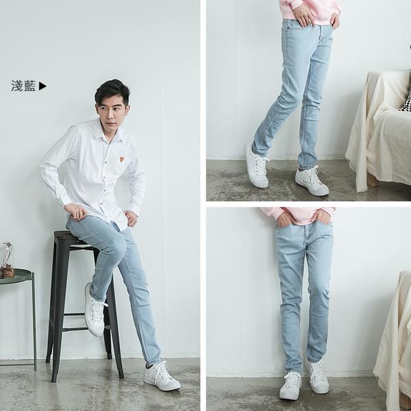 超彈力窄版牛仔褲【OBIYUAN】素面長褲 丹寧休閒褲 共3色【JN3207】