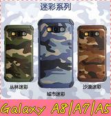 【萌萌噠】三星 Galaxy A8/A7/A5  軍事迷彩系列保護套 防摔抗震 矽膠套+PC背蓋二合一組合軟款 手機套
