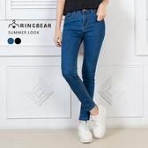 牛仔褲--個性版型顯瘦經典真前後口袋質感單寧窄管長褲(黑.藍S-5L)-N79眼圈熊中大尺碼
