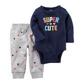 美國Carter's卡特童裝 女寶寶 長袖包屁衣&褲子 肩扣深藍字母【CA121H692】